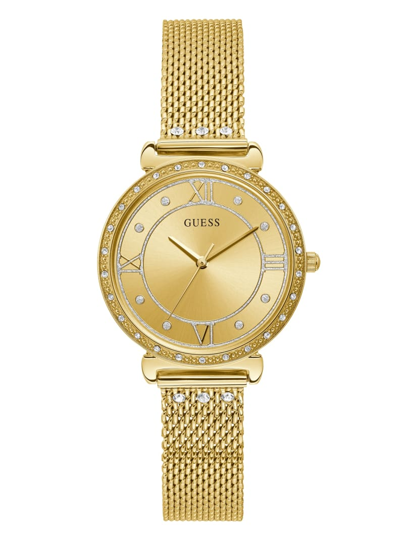 Gold-Tone Mesh And Crystal Analog Watch