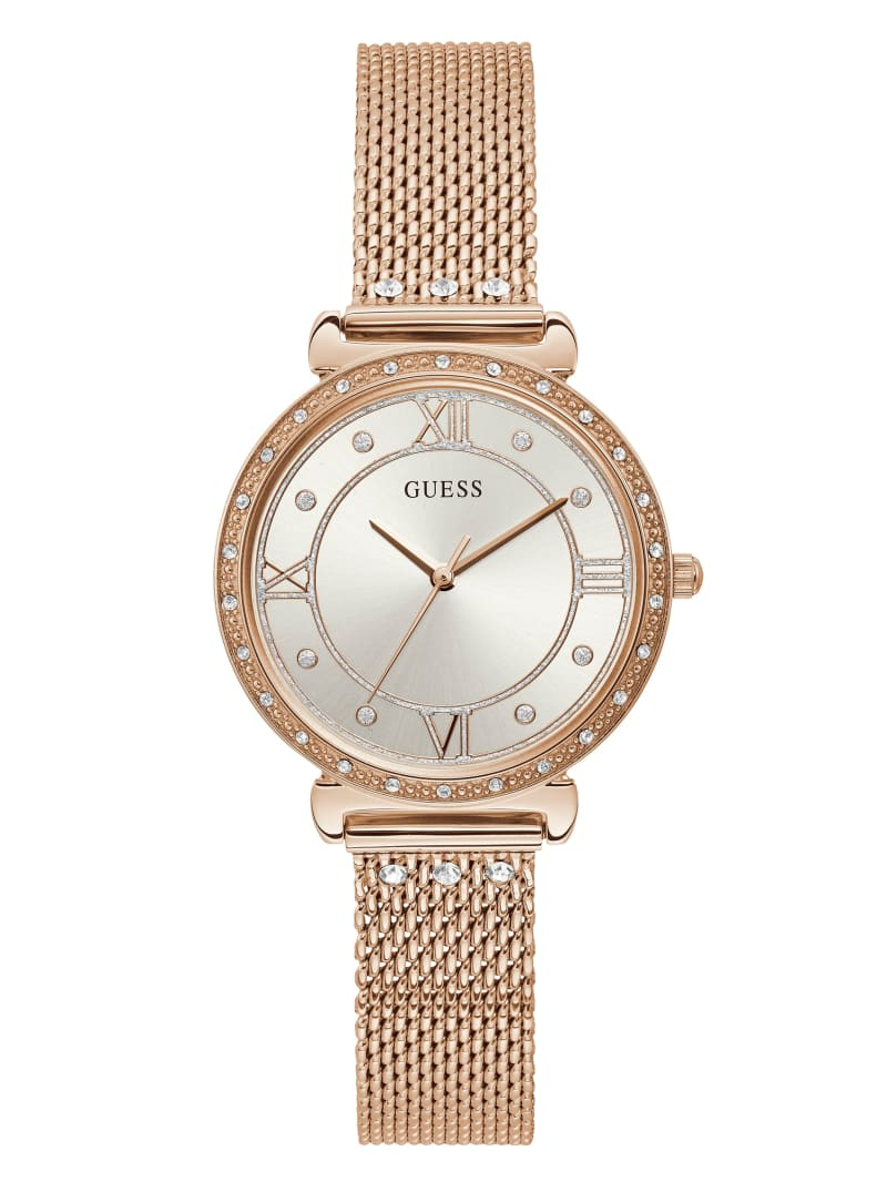Rose Gold-Tone Mesh And Crystal Analog Watch