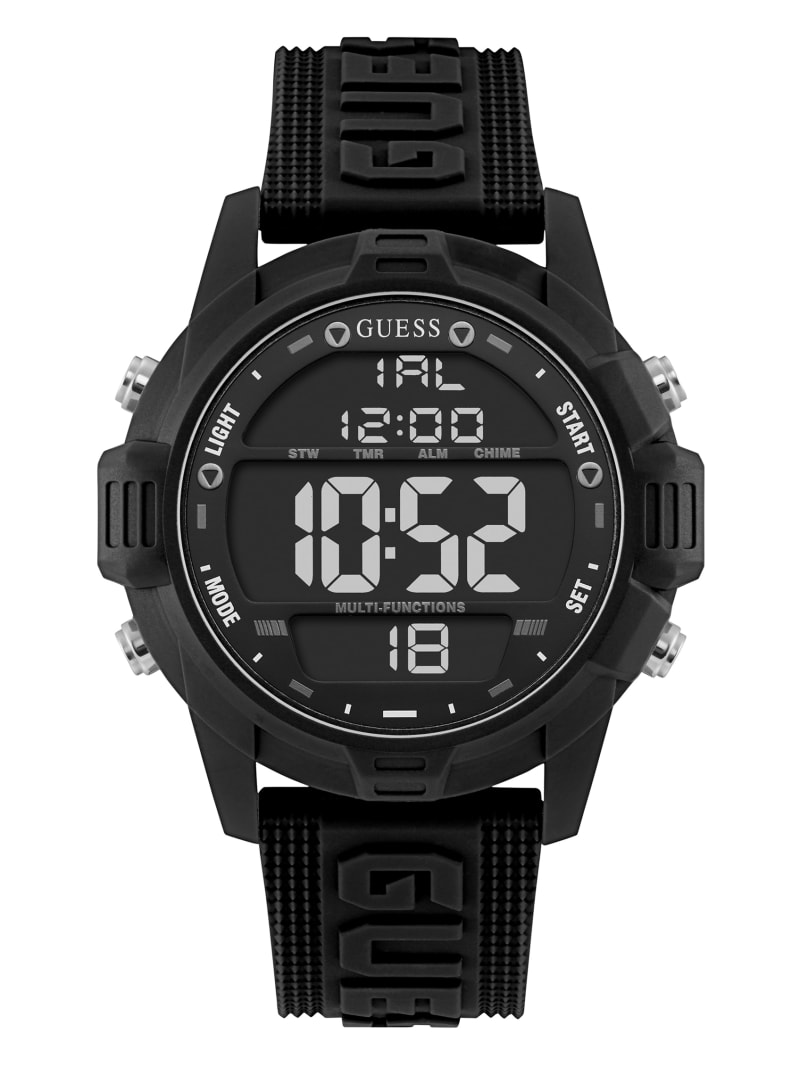 Oversized Black Silicone Analog and Digital Watch