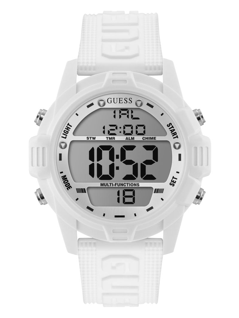 Oversized White Silicone Analog and Digital Watch