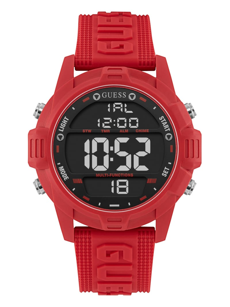 Oversized Red Silicone Analog and Digital Watch
