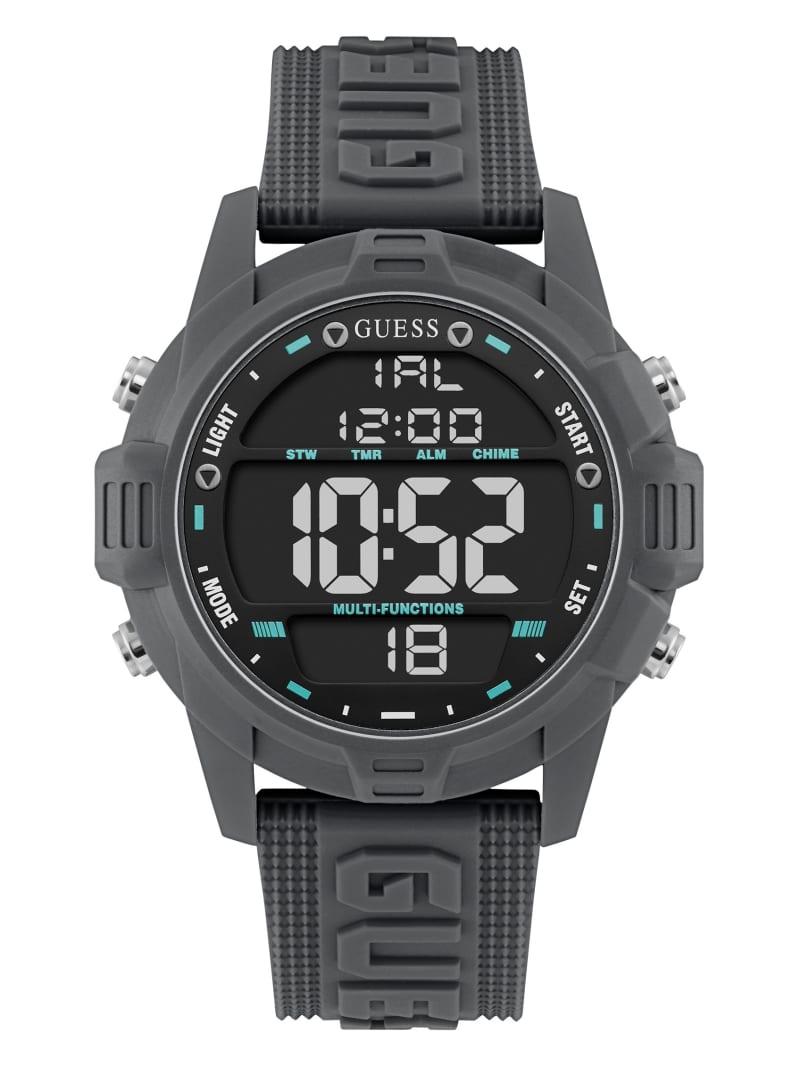 Oversized Grey Silicone Analog and Digital Watch