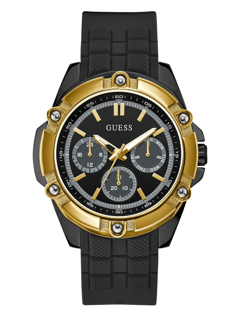 Black and Gold-Tone Silicone Multifunction Sport Watch