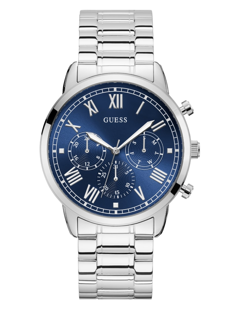 Silver-Tone and Blue Multifunction Watch