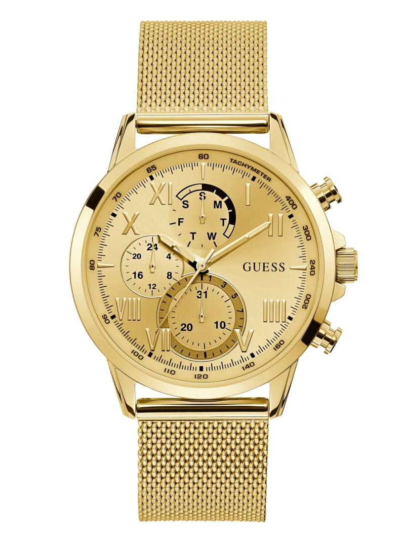 Gold-Tone Mesh Multifunctional Watch