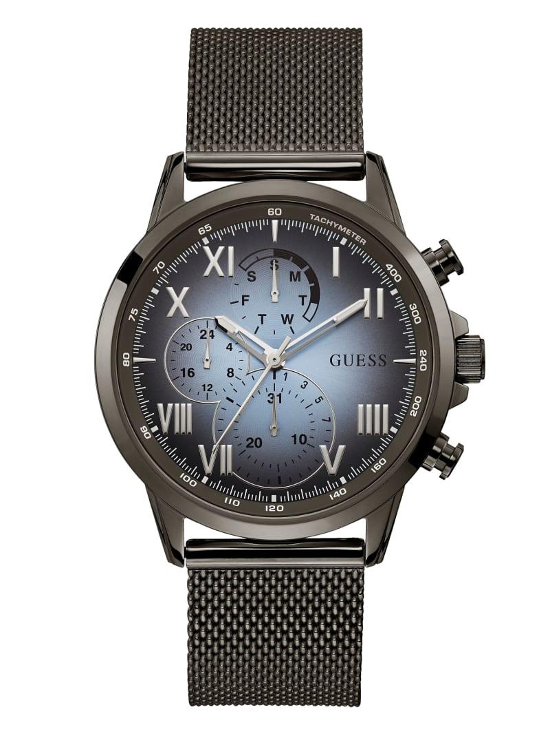Gunmetal And Blue Mesh Multifunctional Watch
