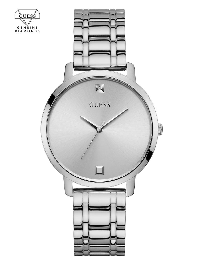 Silver-Tone Diamond Analog Watch
