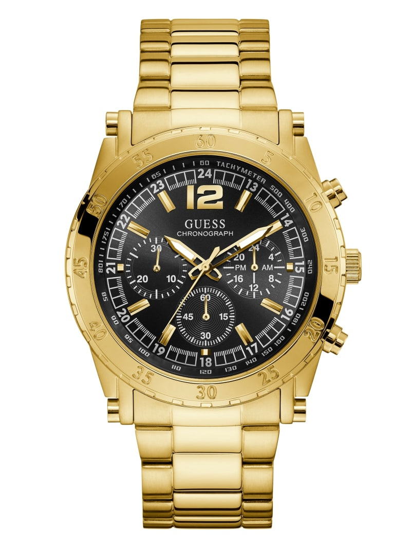 Gold-Tone and Black Chronograph Watch
