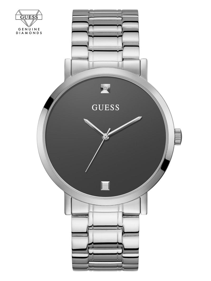 Silver-Tone and Grey Diamond Analog Watch