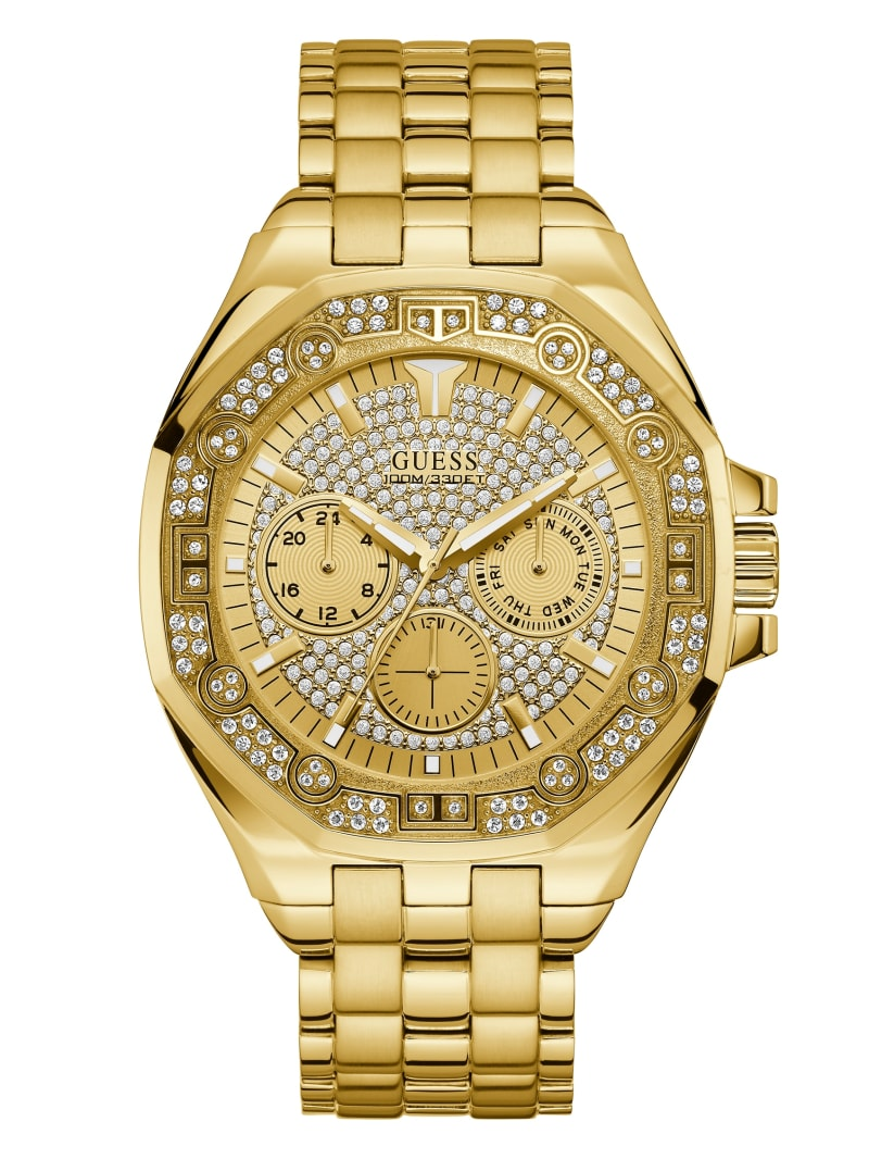 Gold-Tone Rhinestone Multifunction Watch