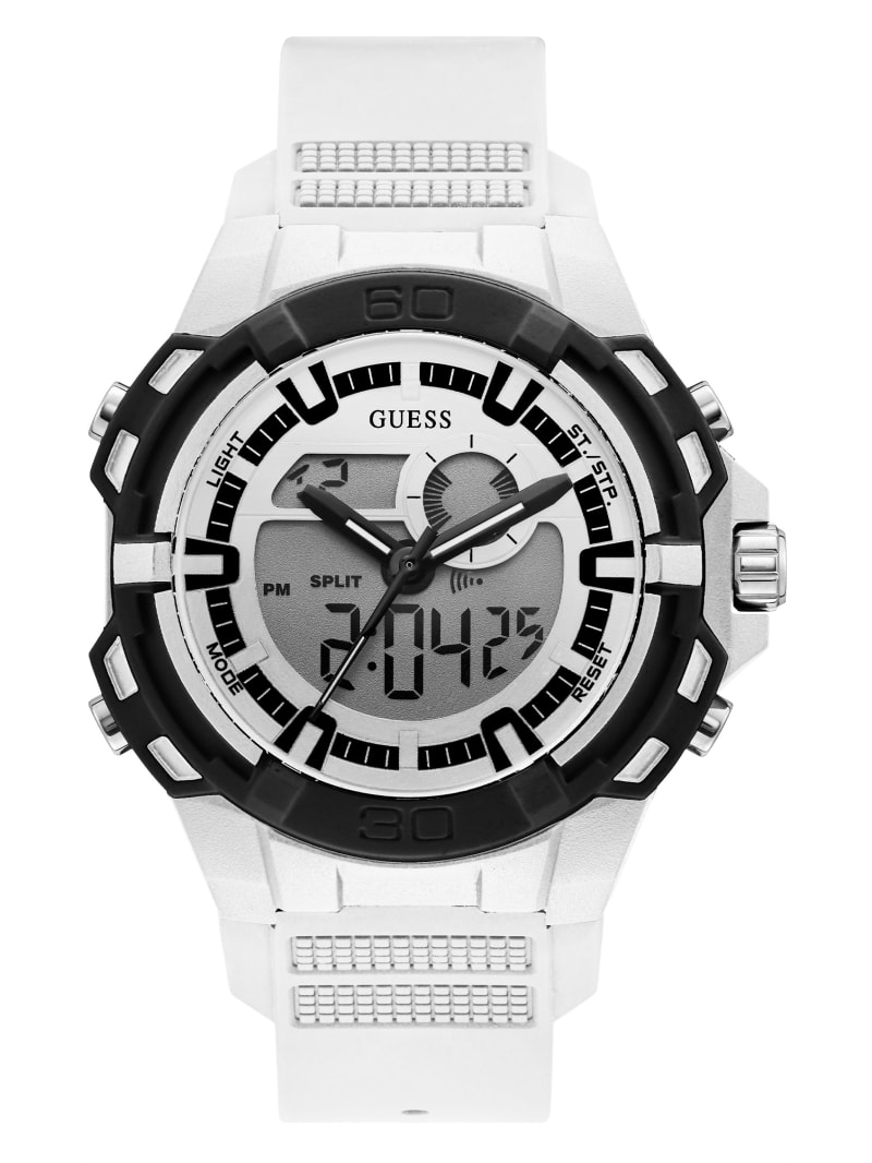 White and Silver-Tone Digital Watch