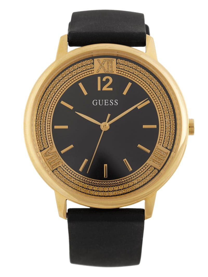 Black Silicone and Gold-Tone Watch