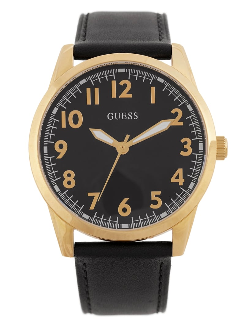 Black and Gold-Tone Leather Analog Watch