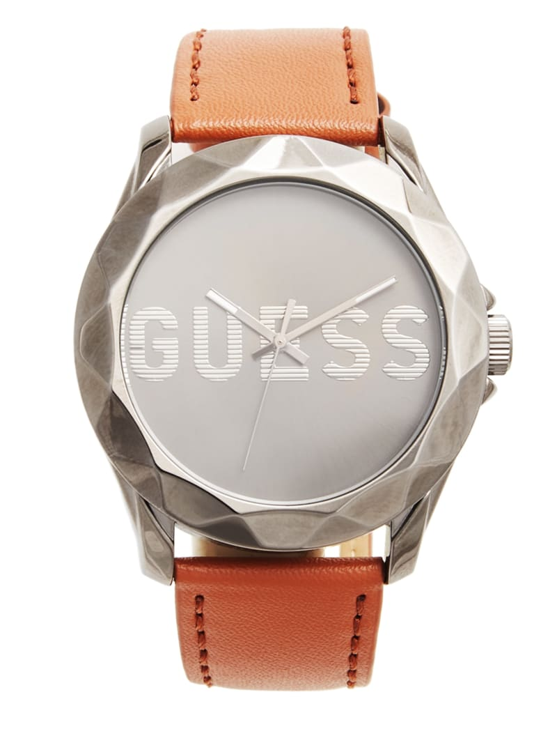 Gunmetal and Brown Analog Watch