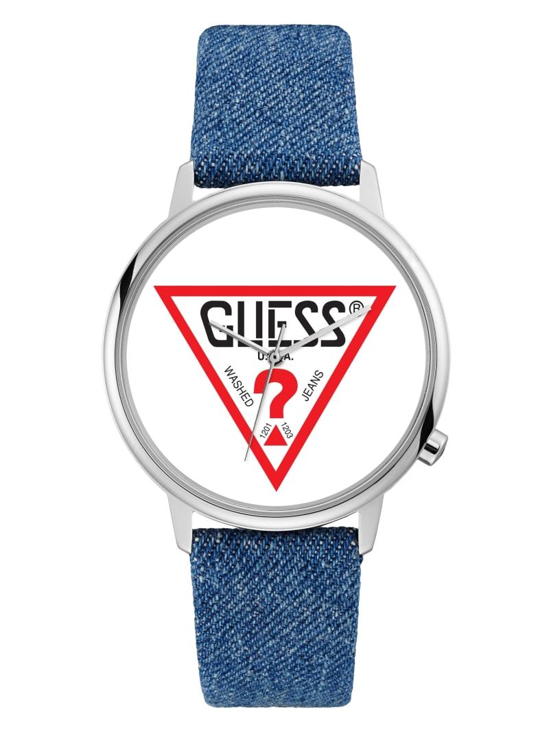 GUESS Originals Silver-Tone and Denim Logo Watch