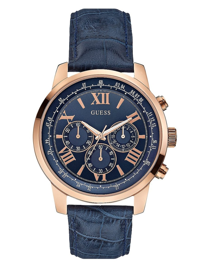Blue and Rose Gold-Tone Classic Chronograph Sport Watch