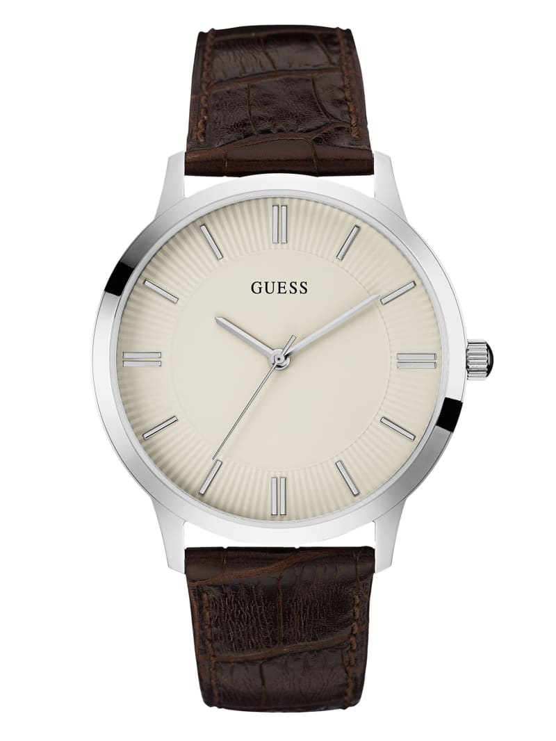 Brown And Silver-Tone Classic Leather Watch