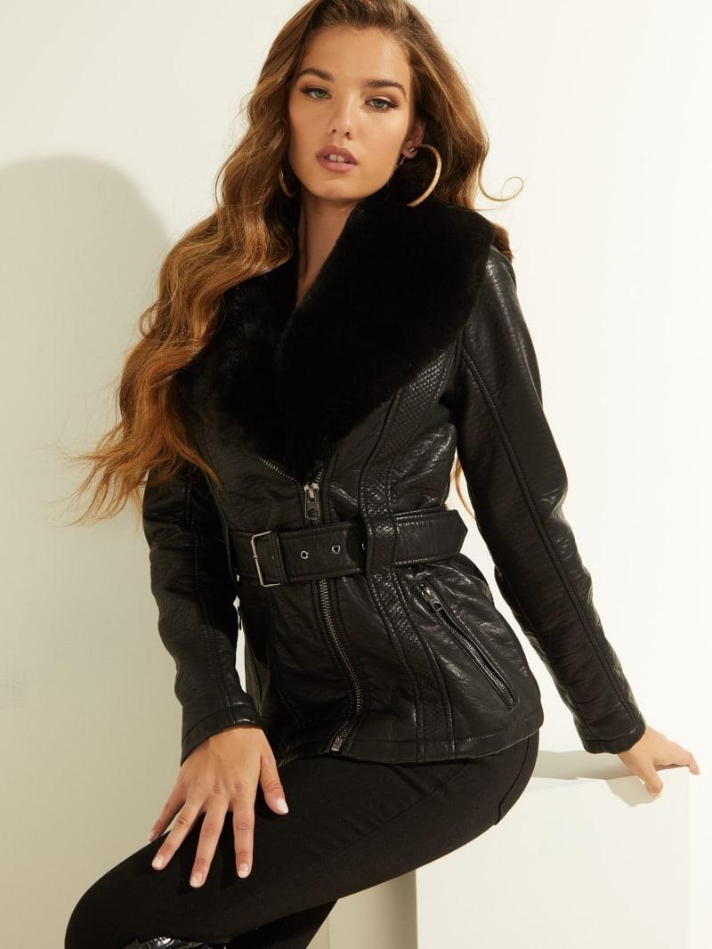 Emma Belted Faux Leather Jacket