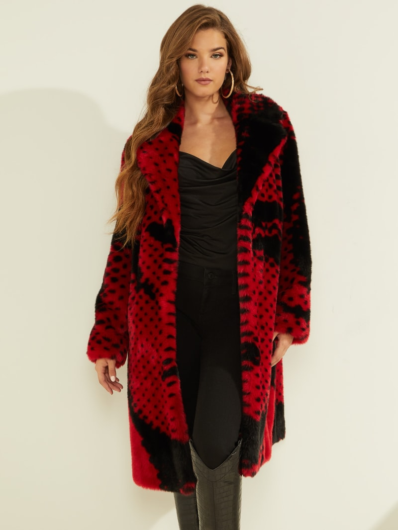 Paisley Graphic Faux-Fur Coat