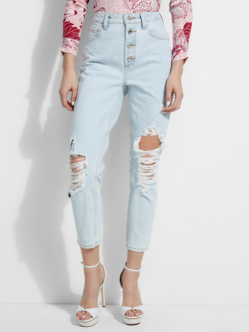 90s Super-High Rise Destroyed Skinny Jeans