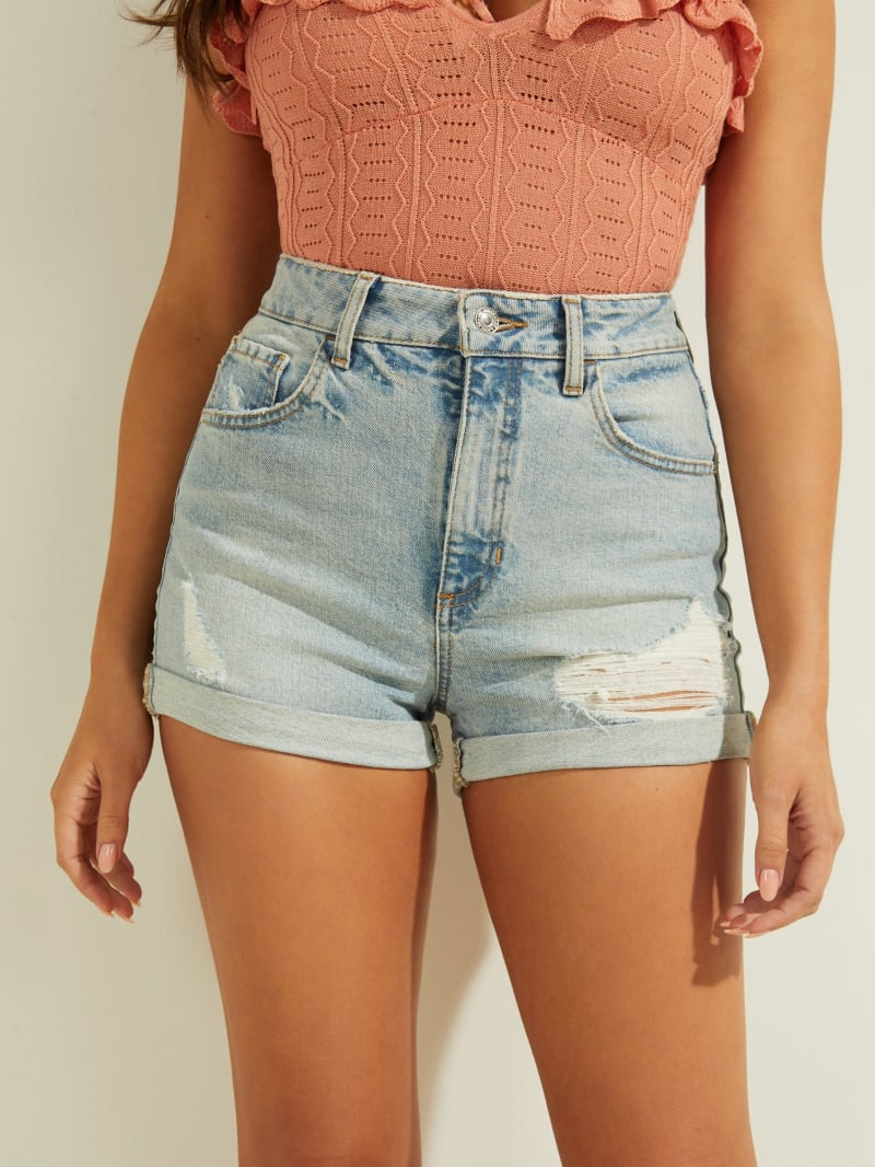 Super-High Rise Denim Mom Shorts