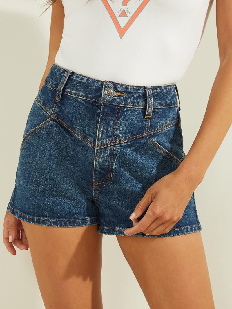 High-Rise Denim Mom Shorts