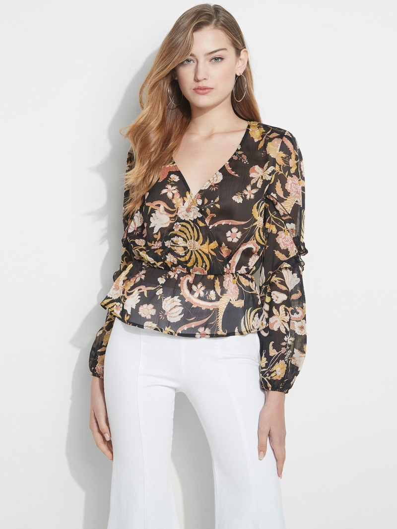 Eco Azell Ruffled Long Sleeve Top
