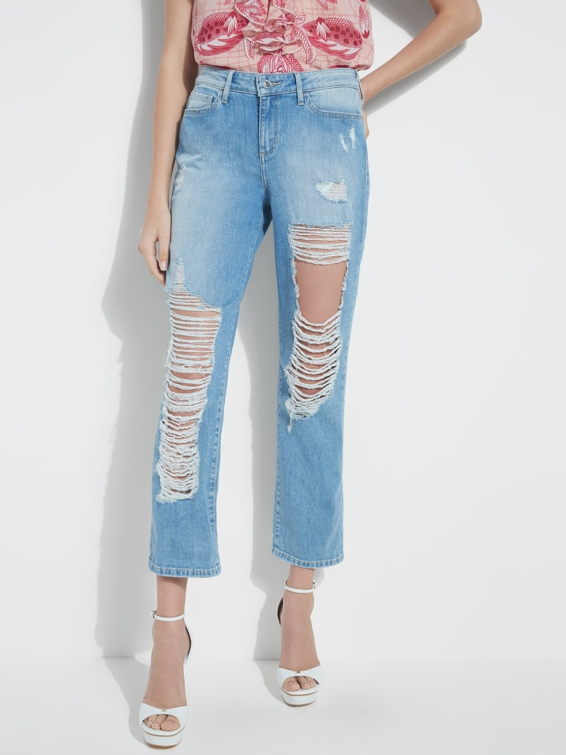 Destroyed Relaxed Mid-Rise Jeans