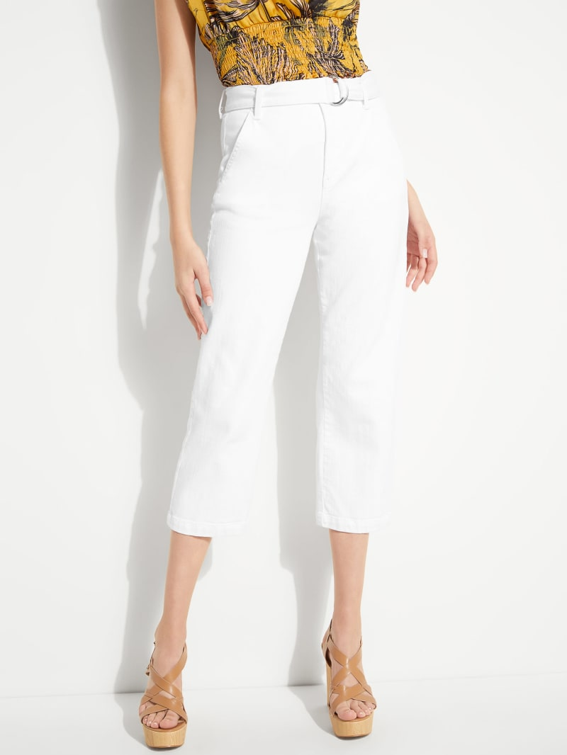 Belted Straight Leg Cropped Jeans