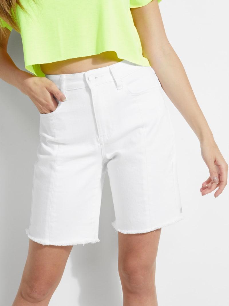 Relaxed Denim Biker Shorts