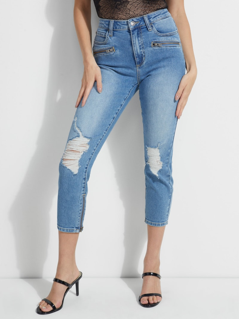 1981 Destroyed Cropped Moto Skinny Jeans