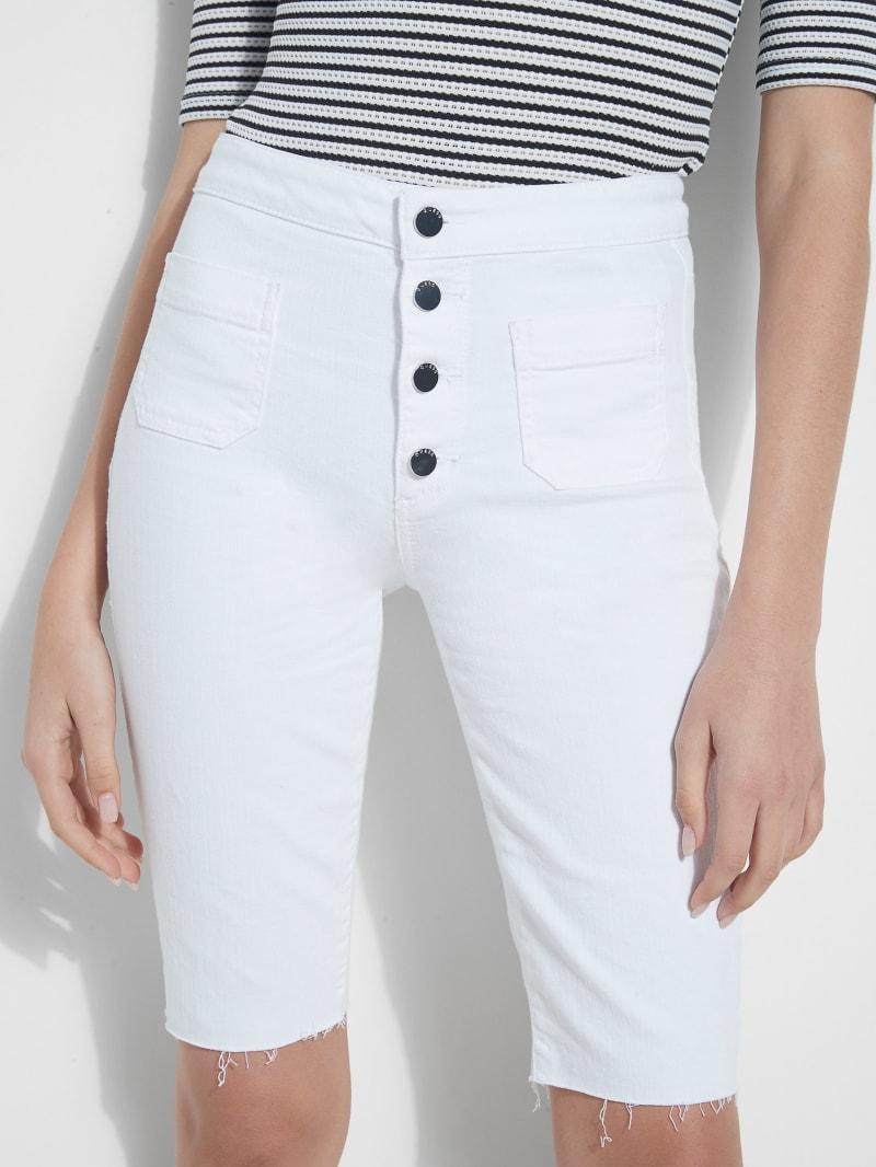 Button-Front Bermuda Denim Shorts