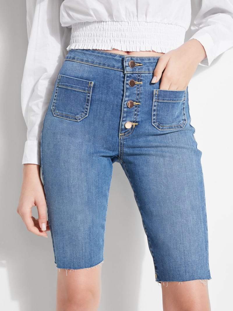 Button-Front Bermuda Denim Shorts