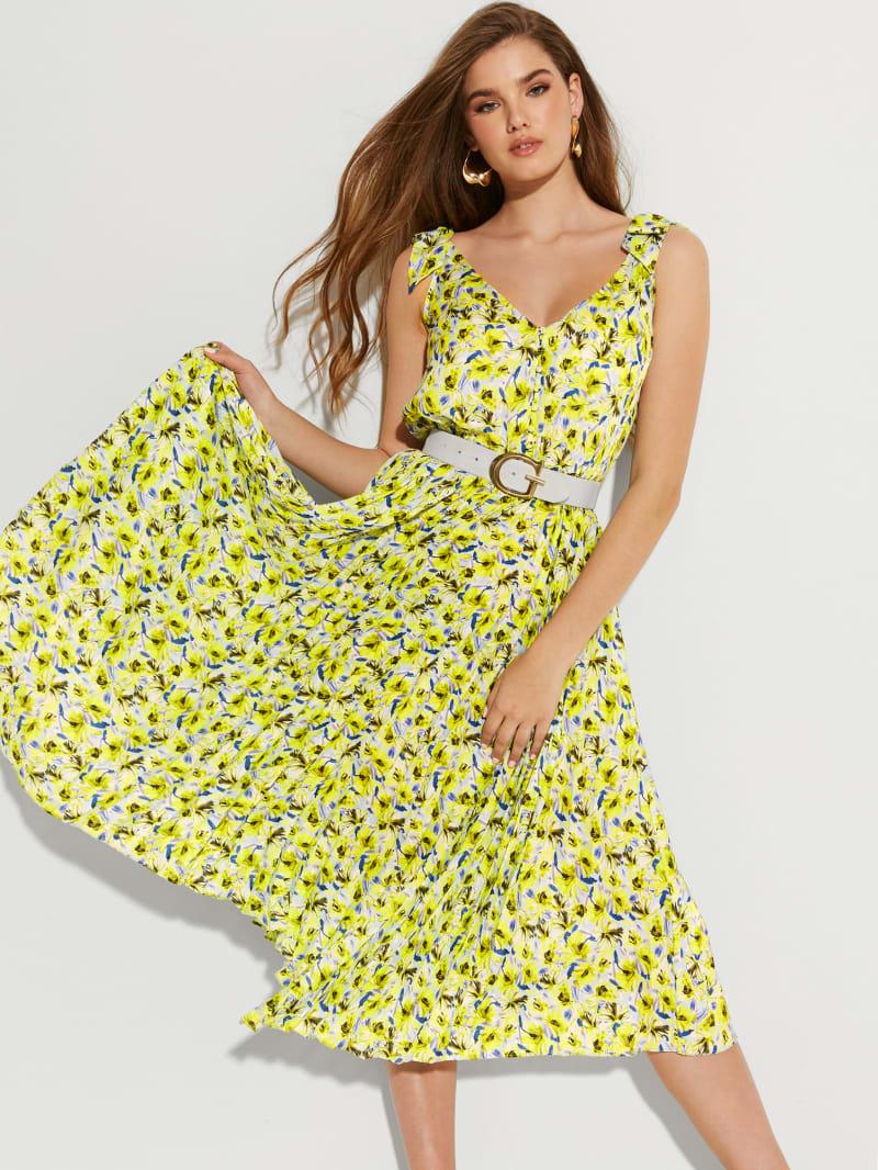 Eco Honey Asymmetrical Pleated Dress