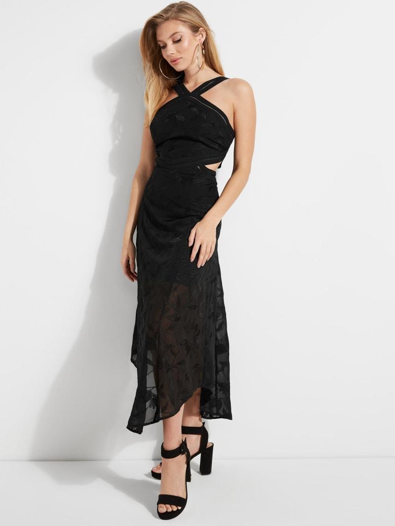 Adira Embroidered Halter Midi Dress