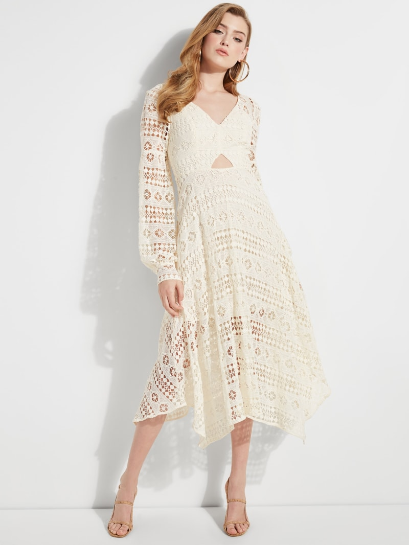 Marcella Lace Overlay Midi Dress