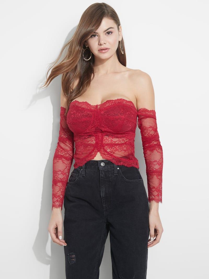 Zendai Off-Shoulder Lace Crop Top