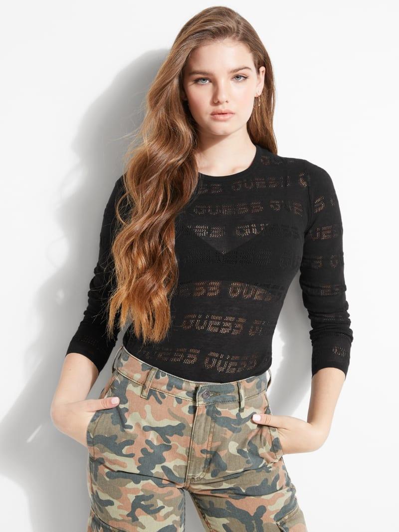 Sheer GUESS Logo Sweater