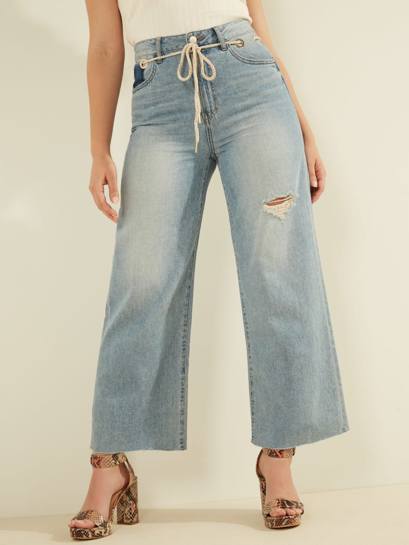 Belted High-Rise Wide Leg Jeans