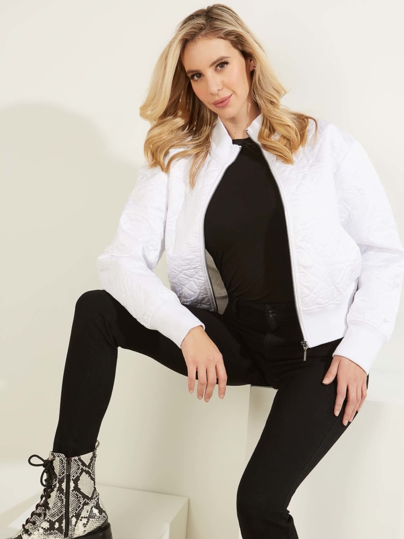 Cici Quilted Satin Bomber Jacket