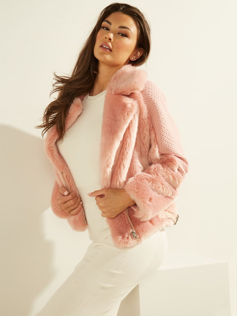 Textured Faux-Fur Jacket