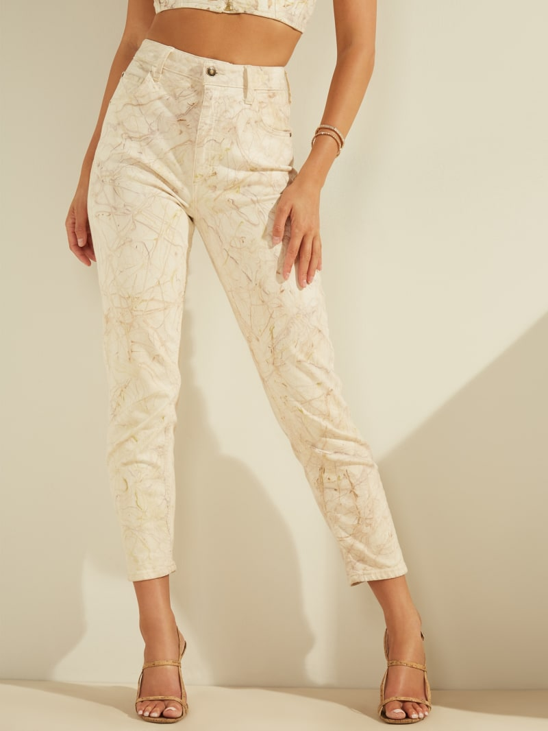 Super-High Rise Marble Mom Jeans