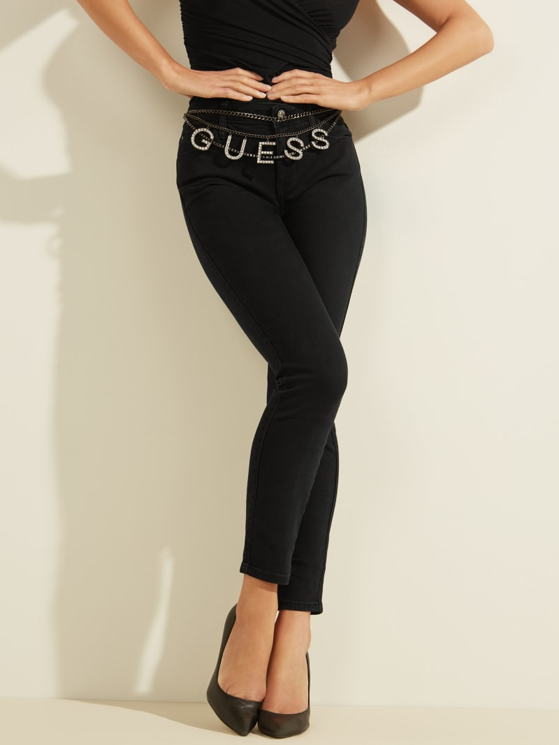 Sexy Curve Logo Chain Skinny Jeans
