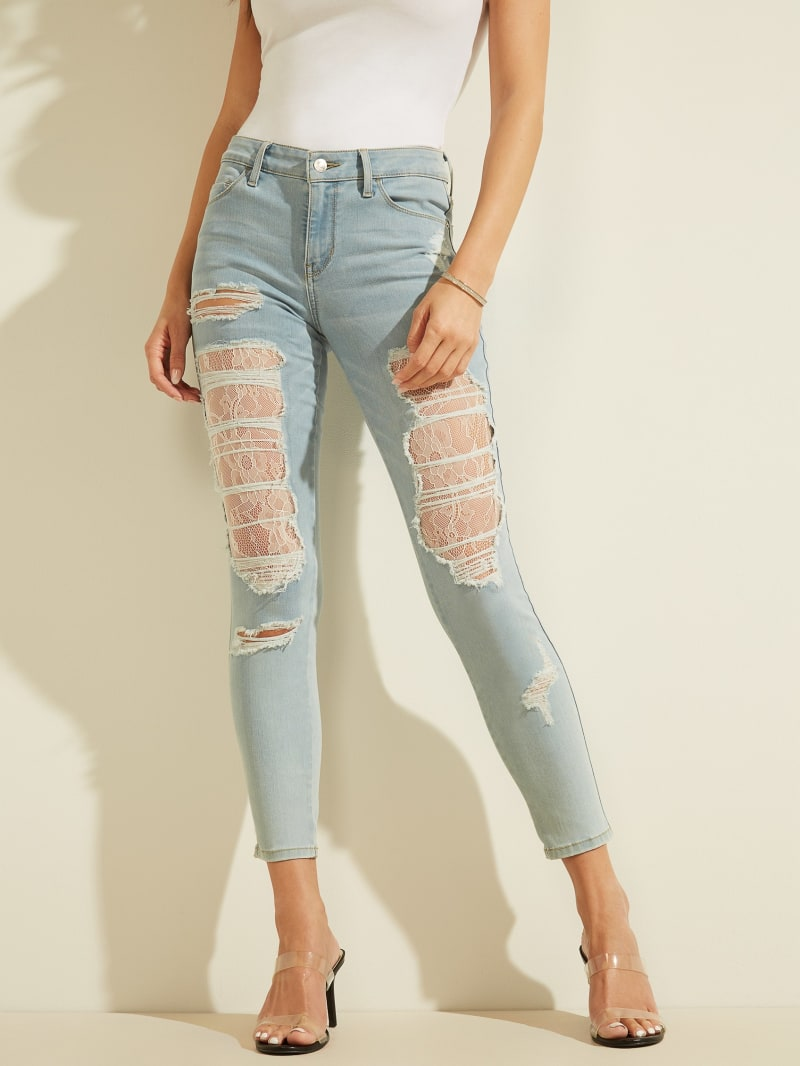 Sexy Curve Lace Distressed Skinny Jeans