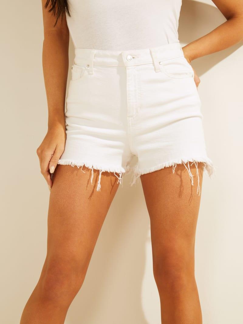 Claudia Super-High Rise Frayed Denim Shorts