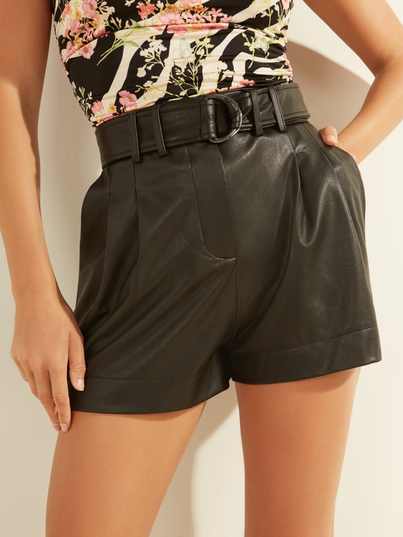 Ava Belted Faux-Leather Shorts
