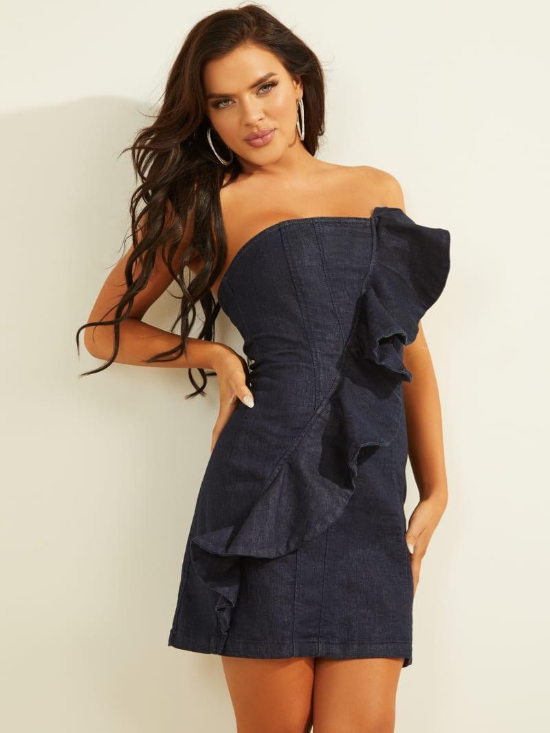 Strapless Denim Ruffle Dress