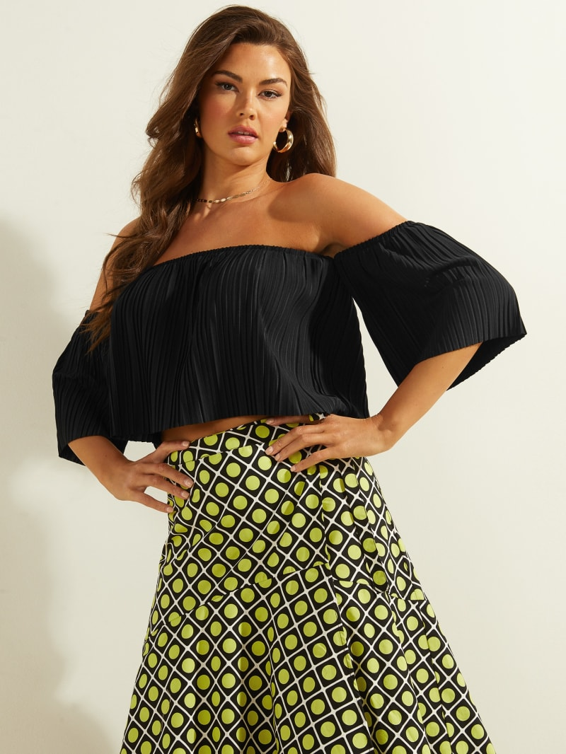 Ada Off-The-Shoulder Pleated Top