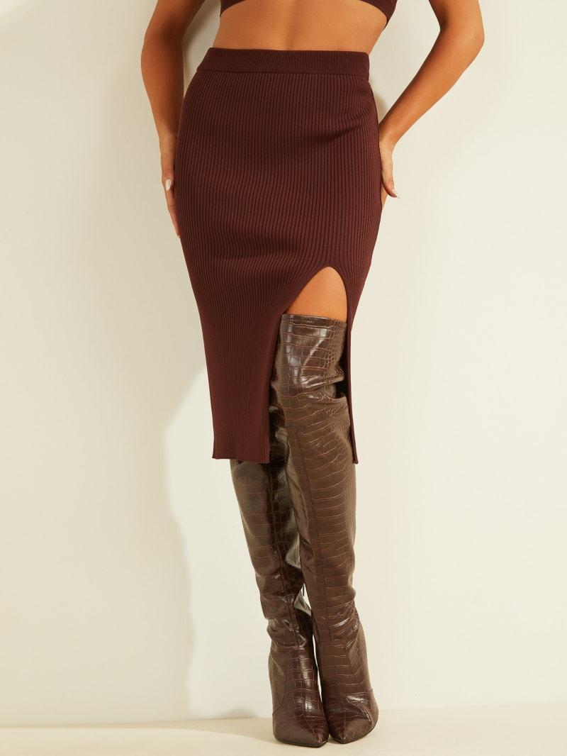 Kalani Thigh Slit Sweater Skirt