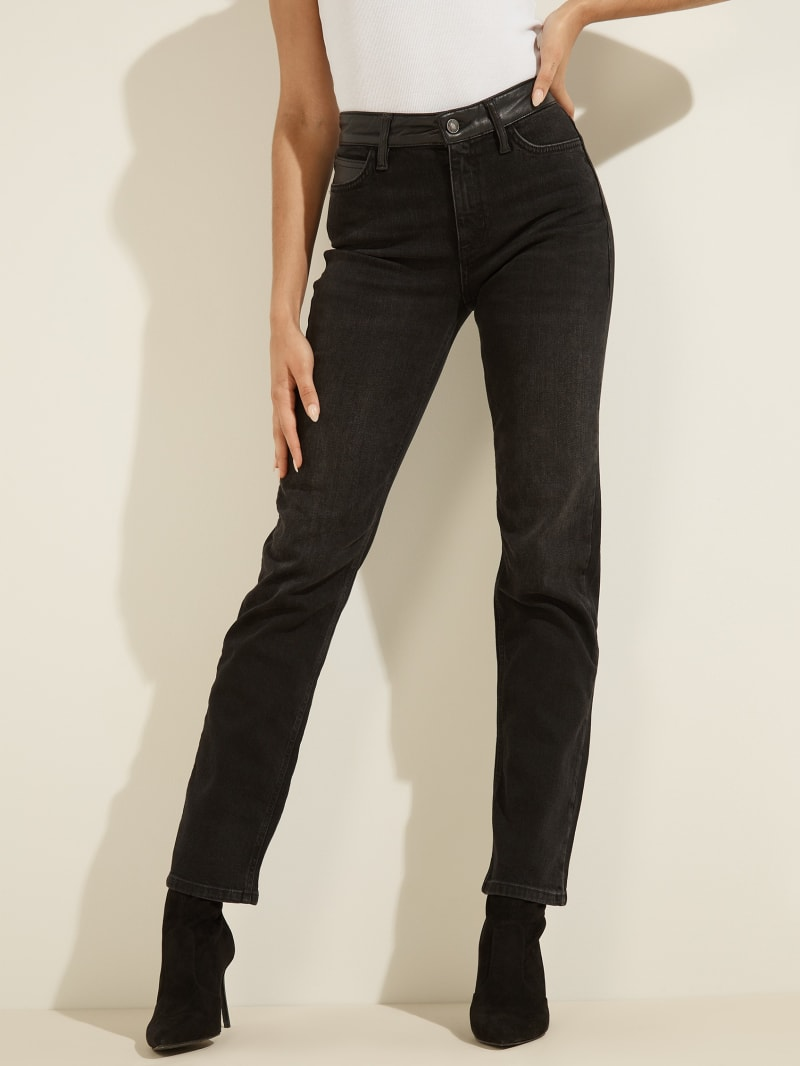 1981 Faux-Leather Waist Straight Jeans